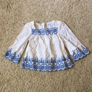 Baby Gap white and blue blouse, size 6-12 months